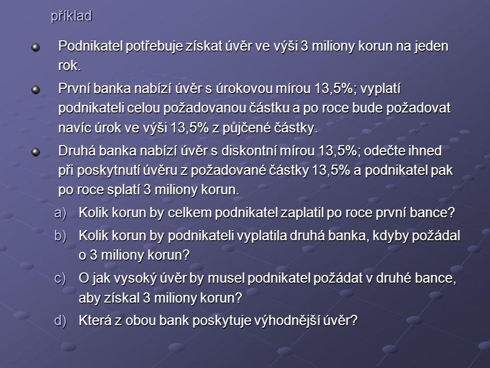 Podnikatel potřebuje získat úvěr ve výši 3 miliony korun na jeden rok.