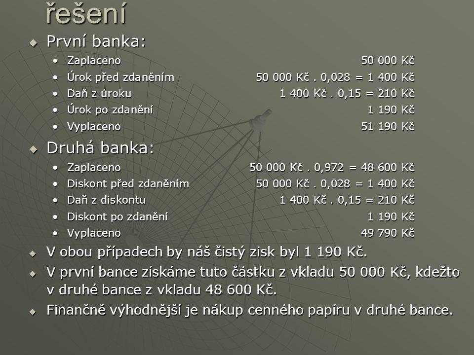  První  První banka: ZaplacenoZaplaceno50 000 Kč ÚrokÚrok před zdaněním50 000 Kč.