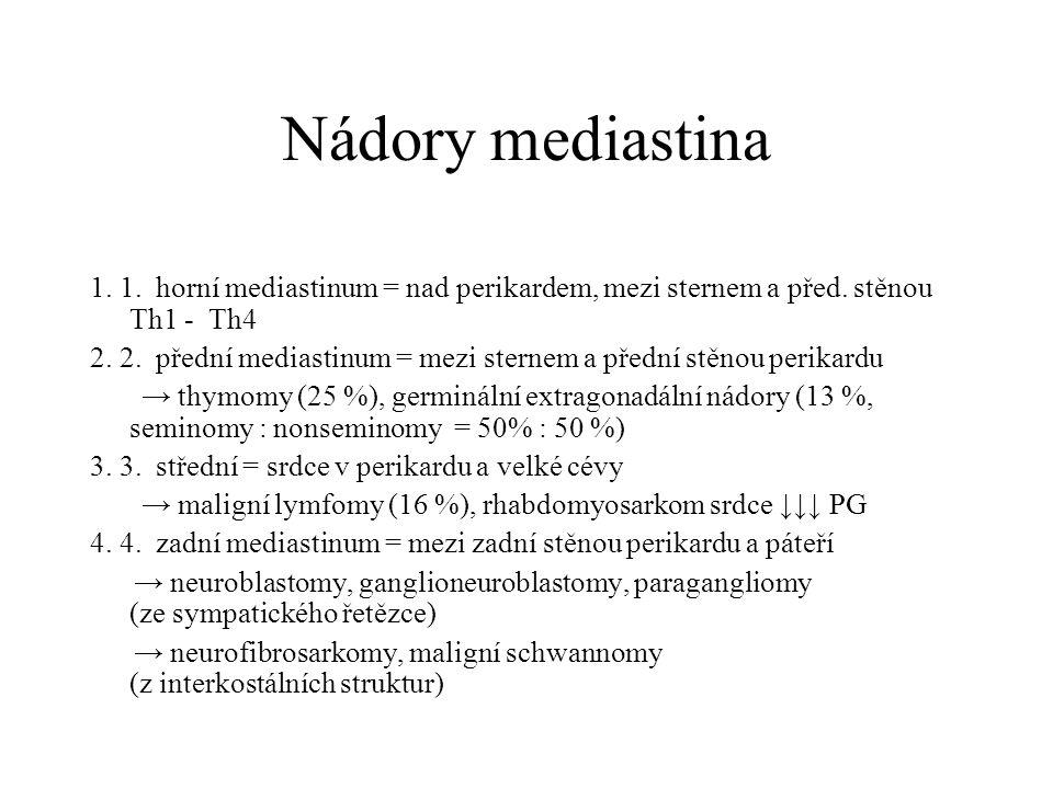 Nádory mediastina 1. 1. horní mediastinum = nad perikardem, mezi sternem a před. stěnou Th1 - Th4 2. 2. přední mediastinum = mezi sternem a přední stě
