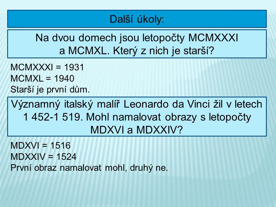 Další úkoly: Na dvou domech jsou letopočty MCMXXXI a MCMXL. Který z nich je starší? MCMXXXI = 1931 MCMXL = 1940 Starší je první dům. Významný italský
