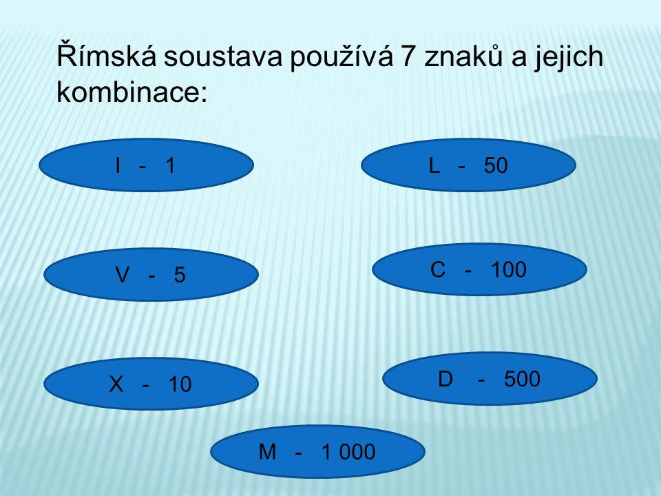 Římská soustava používá 7 znaků a jejich kombinace: I - 1 V - 5 X - 10 C - 100 L - 50 D - 500 M - 1 000