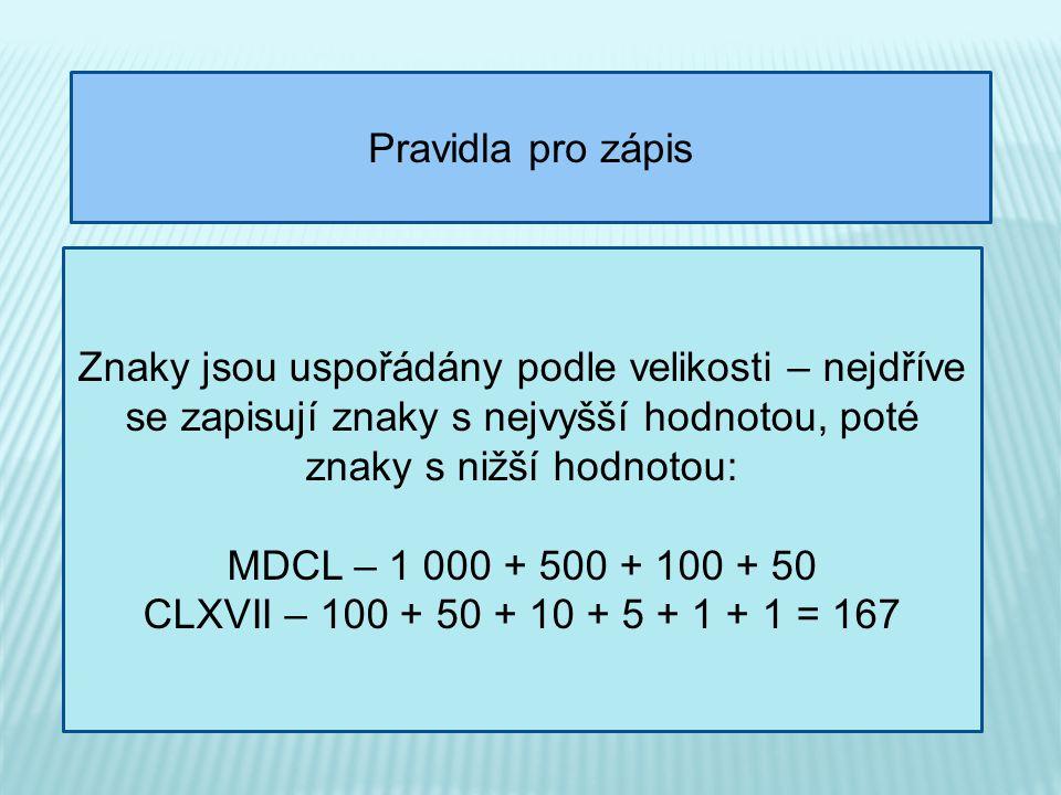 Pravidla pro zápis Znaky jsou uspořádány podle velikosti – nejdříve se zapisují znaky s nejvyšší hodnotou, poté znaky s nižší hodnotou: MDCL – 1 000 + 500 + 100 + 50 CLXVII – 100 + 50 + 10 + 5 + 1 + 1 = 167