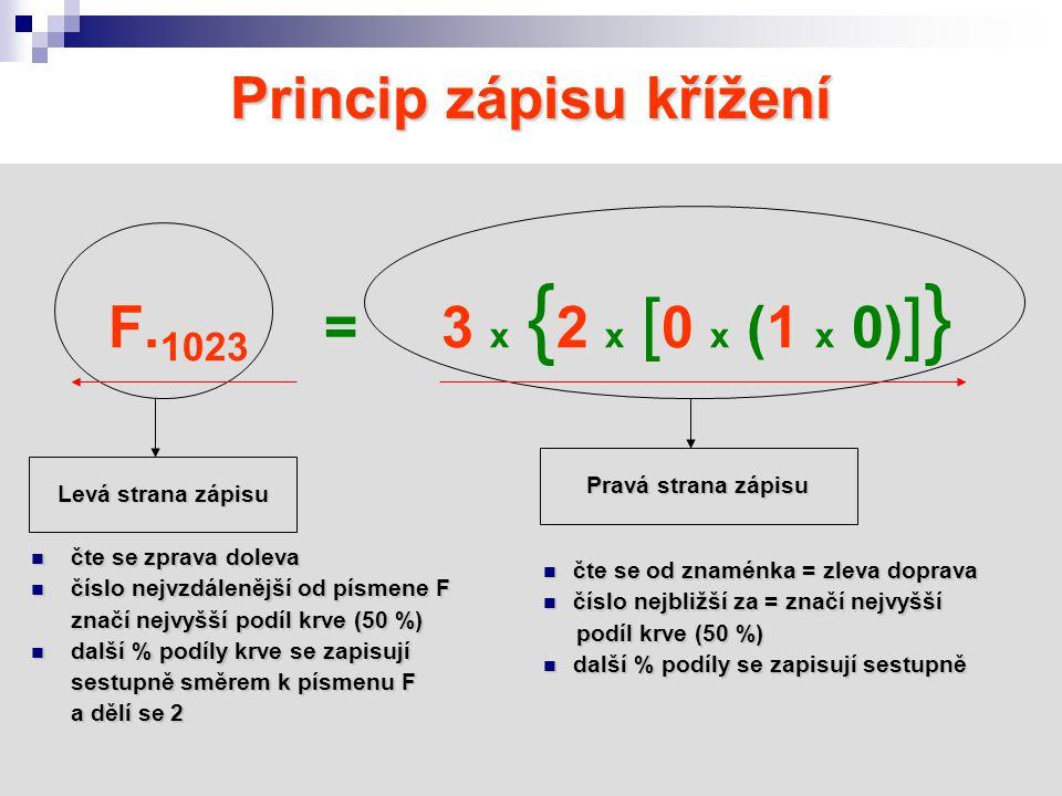 Princip zápisu křížení F. 1023 = 3 x { 2 x [ 0 x (1 x 0) ] } Levá strana zápisu Pravá strana zápisu čte se zprava doleva čte se zprava doleva číslo ne