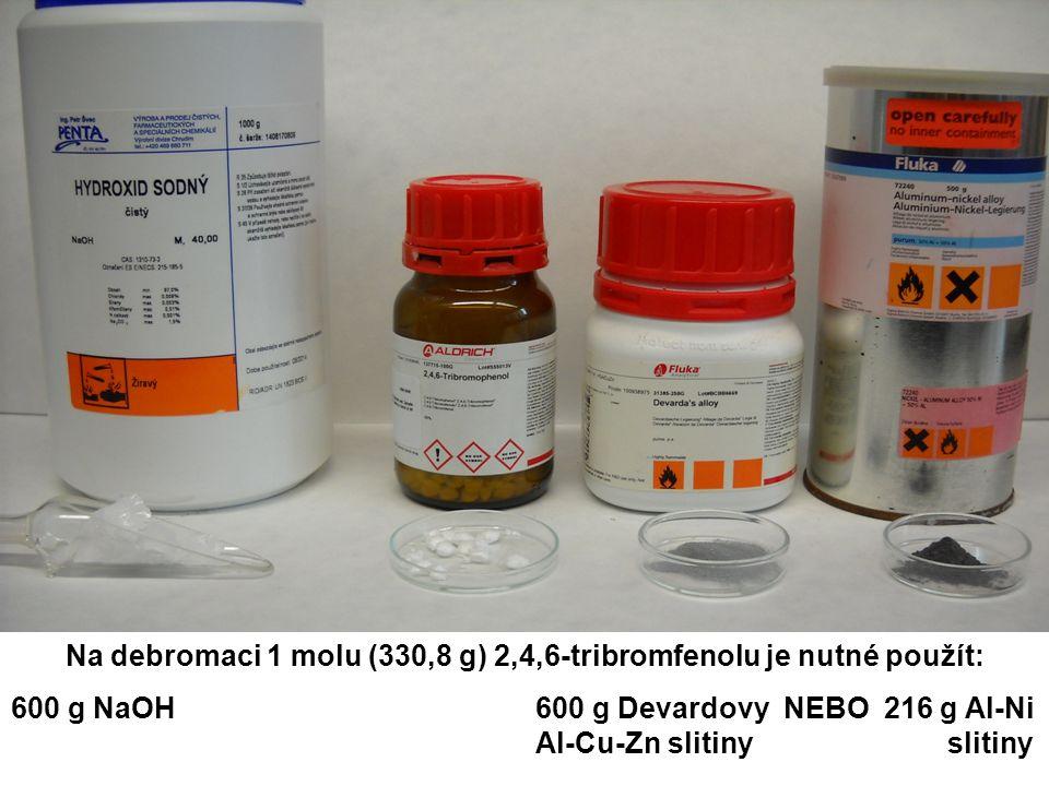 Na debromaci 1 molu (330,8 g) 2,4,6-tribromfenolu je nutné použít: 600 g NaOH600 g Devardovy NEBO 216 g Al-Ni Al-Cu-Zn slitiny slitiny