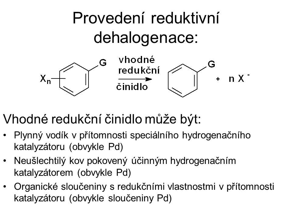 Provedení reduktivní dehalogenace: Vhodné redukční činidlo může být: Plynný vodík v přítomnosti speciálního hydrogenačního katalyzátoru (obvykle Pd) N