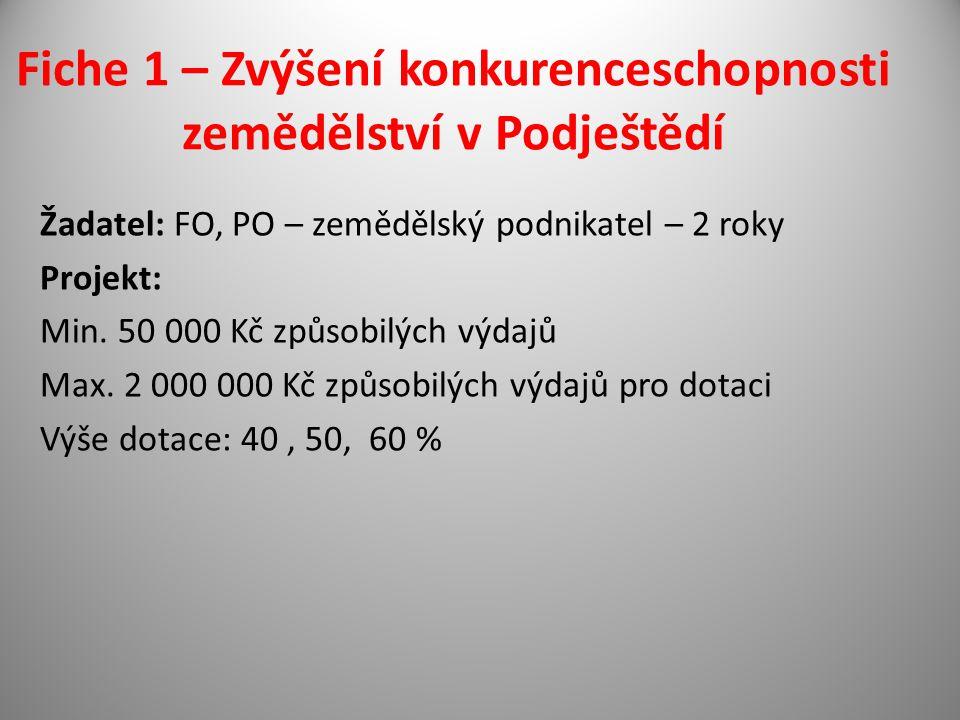 Fiche 1 – Zvýšení konkurenceschopnosti zemědělství v Podještědí Žadatel: FO, PO – zemědělský podnikatel – 2 roky Projekt: Min.