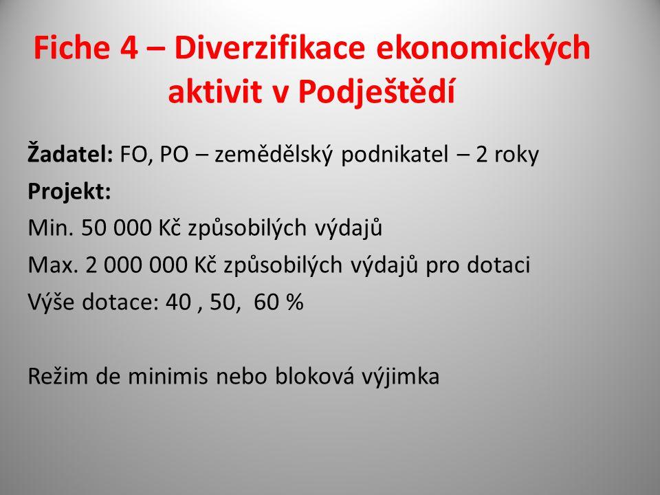 Fiche 4 – Diverzifikace ekonomických aktivit v Podještědí Žadatel: FO, PO – zemědělský podnikatel – 2 roky Projekt: Min.