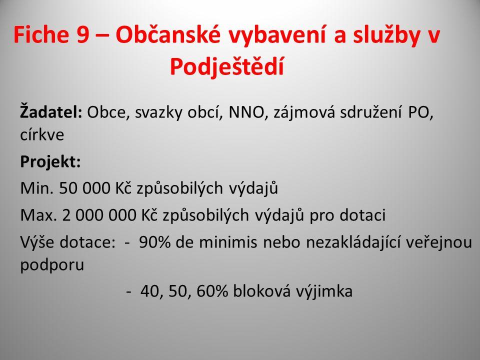 Fiche 9 – Občanské vybavení a služby v Podještědí Žadatel: Obce, svazky obcí, NNO, zájmová sdružení PO, církve Projekt: Min.