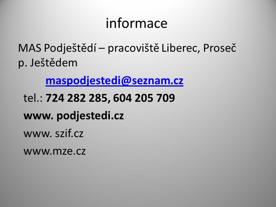 informace MAS Podještědí – pracoviště Liberec, Proseč p.