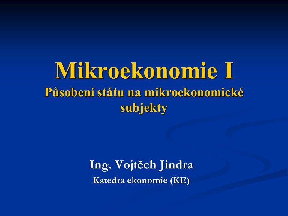 Mikroekonomie I Působení státu na mikroekonomické subjekty Ing. Vojtěch JindraIng. Vojtěch Jindra Katedra ekonomie (KE)Katedra ekonomie (KE)