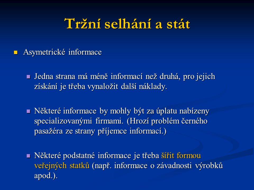 Tržní selhání a stát Asymetrické informace Asymetrické informace Jedna strana má méně informací než druhá, pro jejich získání je třeba vynaložit další