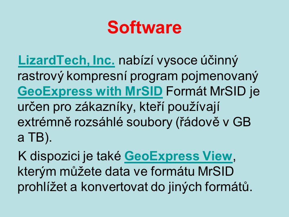 Software LizardTech, Inc.LizardTech, Inc. nabízí vysoce účinný rastrový kompresní program pojmenovaný GeoExpress with MrSID Formát MrSID je určen pro