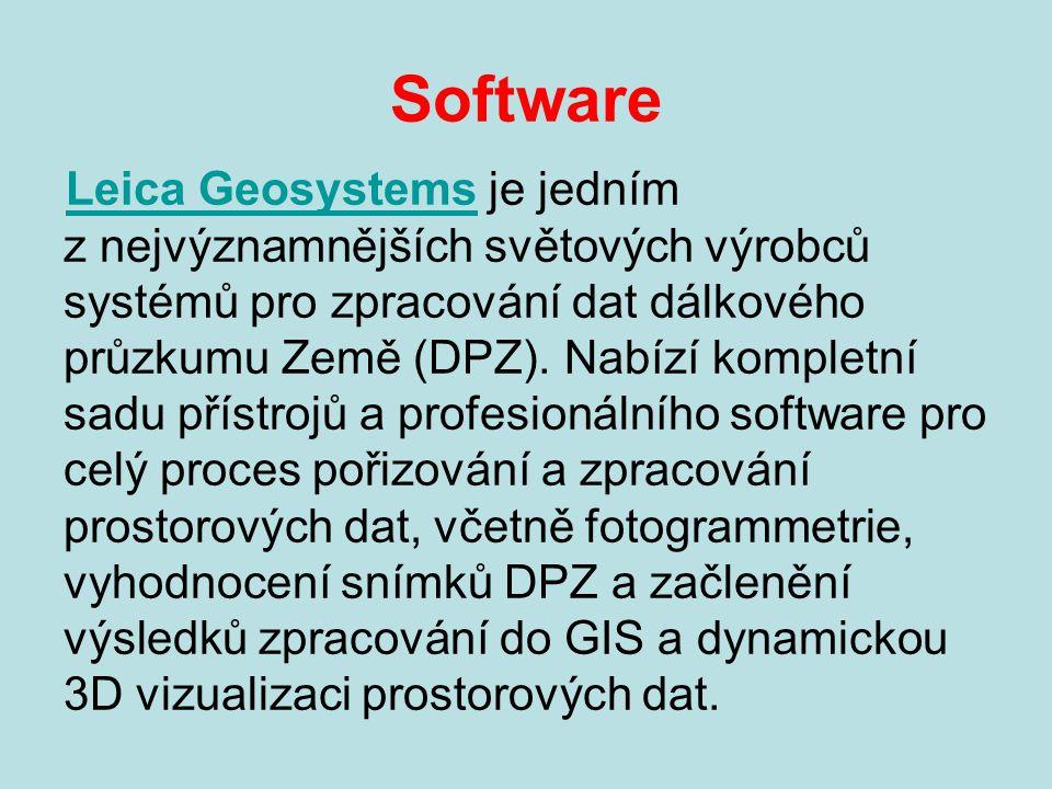 Software Leica GeosystemsLeica Geosystems je jedním z nejvýznamnějších světových výrobců systémů pro zpracování dat dálkového průzkumu Země (DPZ).