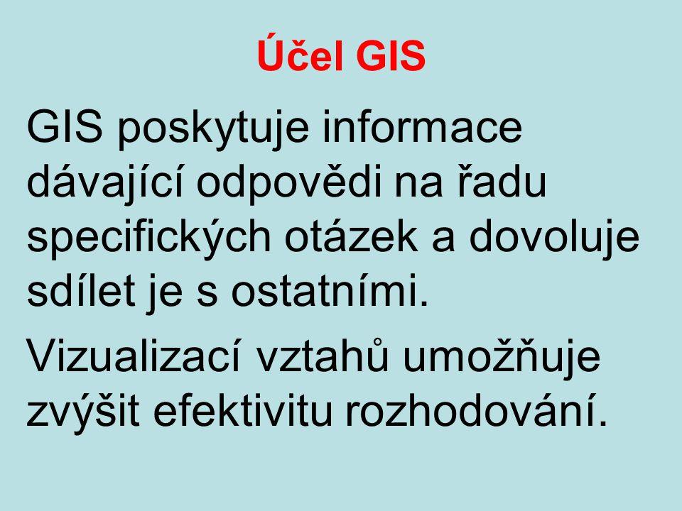 Účel GIS GIS poskytuje informace dávající odpovědi na řadu specifických otázek a dovoluje sdílet je s ostatními.