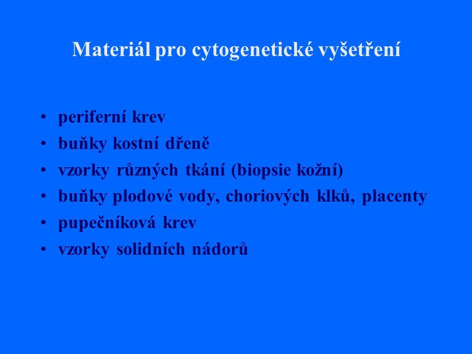 Materiál pro cytogenetické vyšetření periferní krev buňky kostní dřeně vzorky různých tkání (biopsie kožní) buňky plodové vody, choriových klků, place