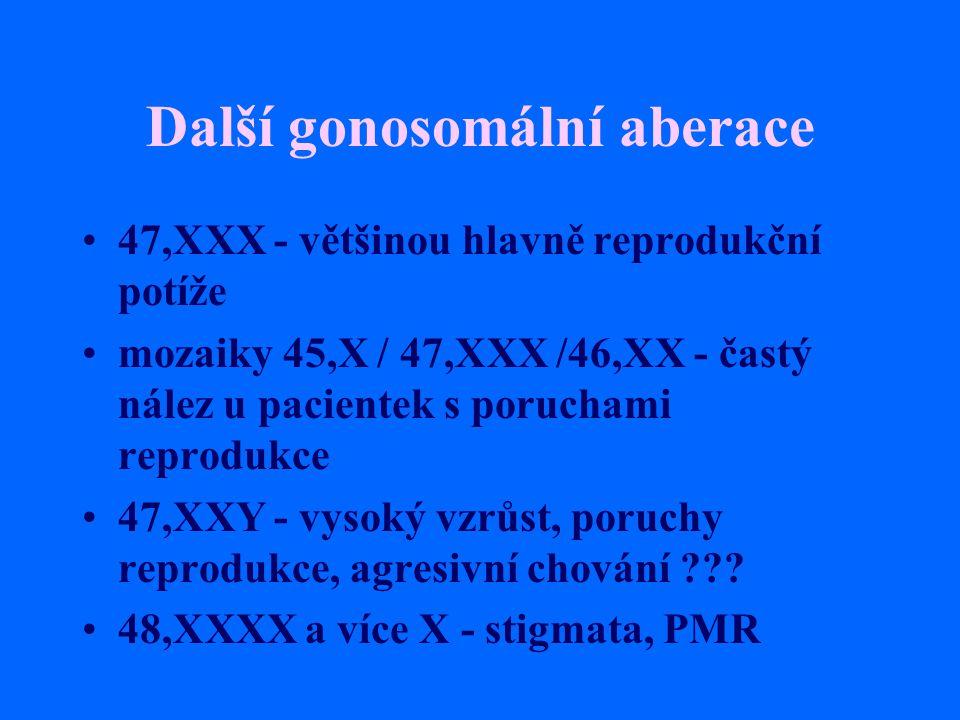 Další gonosomální aberace 47,XXX - většinou hlavně reprodukční potíže mozaiky 45,X / 47,XXX /46,XX - častý nález u pacientek s poruchami reprodukce 47