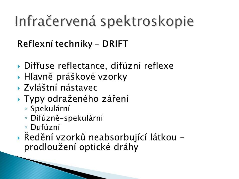 Reflexní techniky – DRIFT  Diffuse reflectance, difúzní reflexe  Hlavně práškové vzorky  Zvláštní nástavec  Typy odraženého záření ◦ Spekulární ◦
