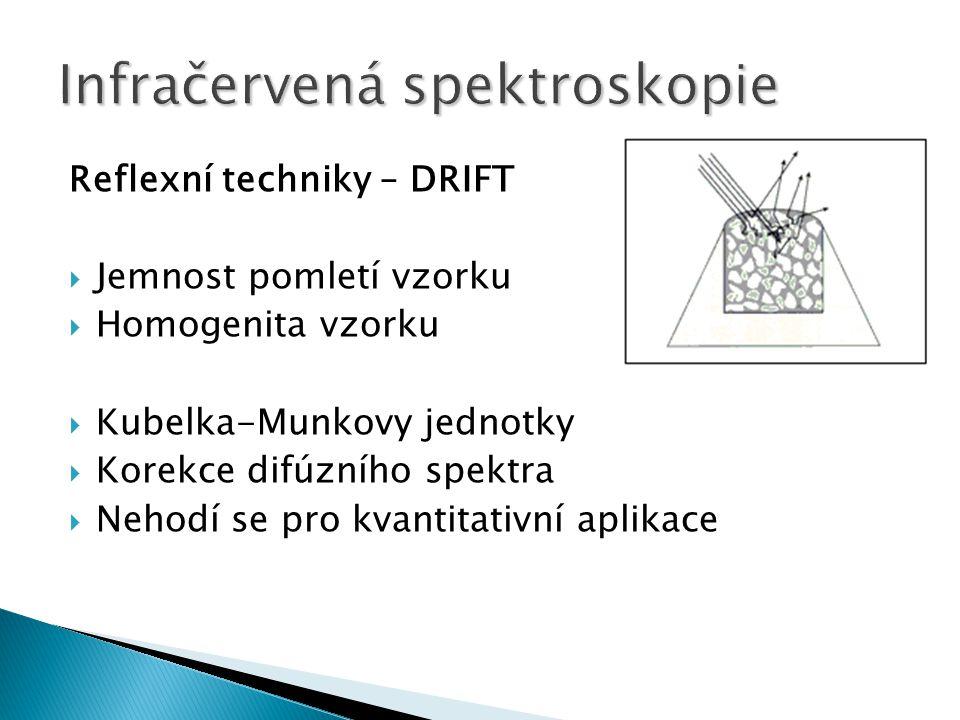 Reflexní techniky – DRIFT  Jemnost pomletí vzorku  Homogenita vzorku  Kubelka-Munkovy jednotky  Korekce difúzního spektra  Nehodí se pro kvantita