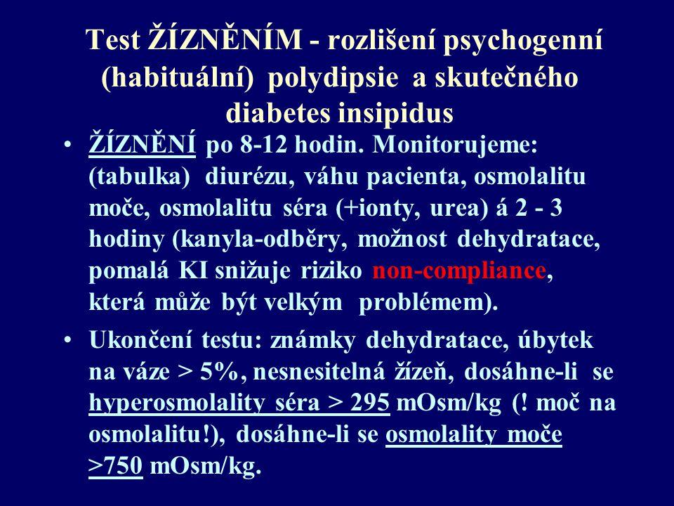 Test ŽÍZNĚNÍM - rozlišení psychogenní (habituální) polydipsie a skutečného diabetes insipidus ŽÍZNĚNÍ po 8-12 hodin. Monitorujeme: (tabulka) diurézu,