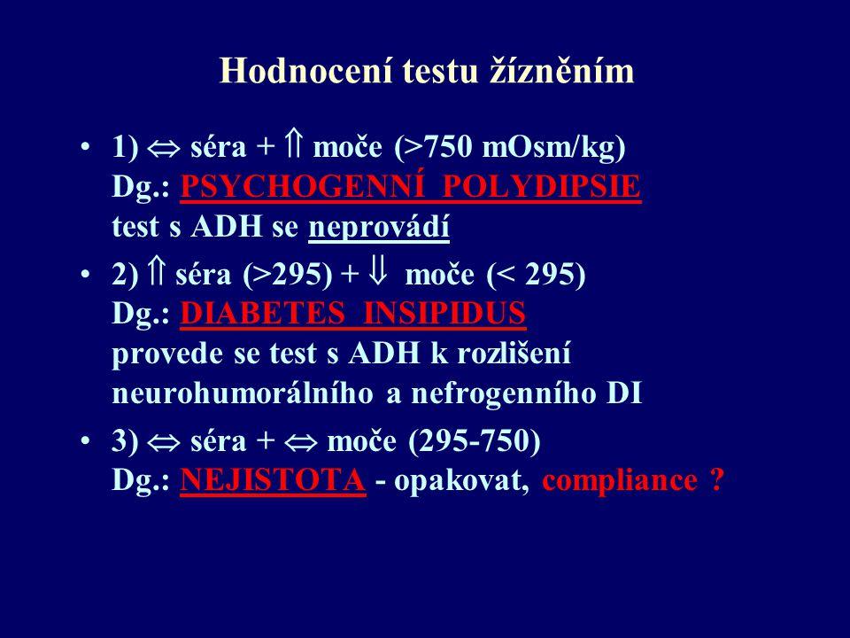 Hodnocení testu žízněním 1)  séra +  moče (>750 mOsm/kg) Dg.: PSYCHOGENNÍ POLYDIPSIE test s ADH se neprovádí 2)  séra (>295) +  moče (< 295) Dg.: