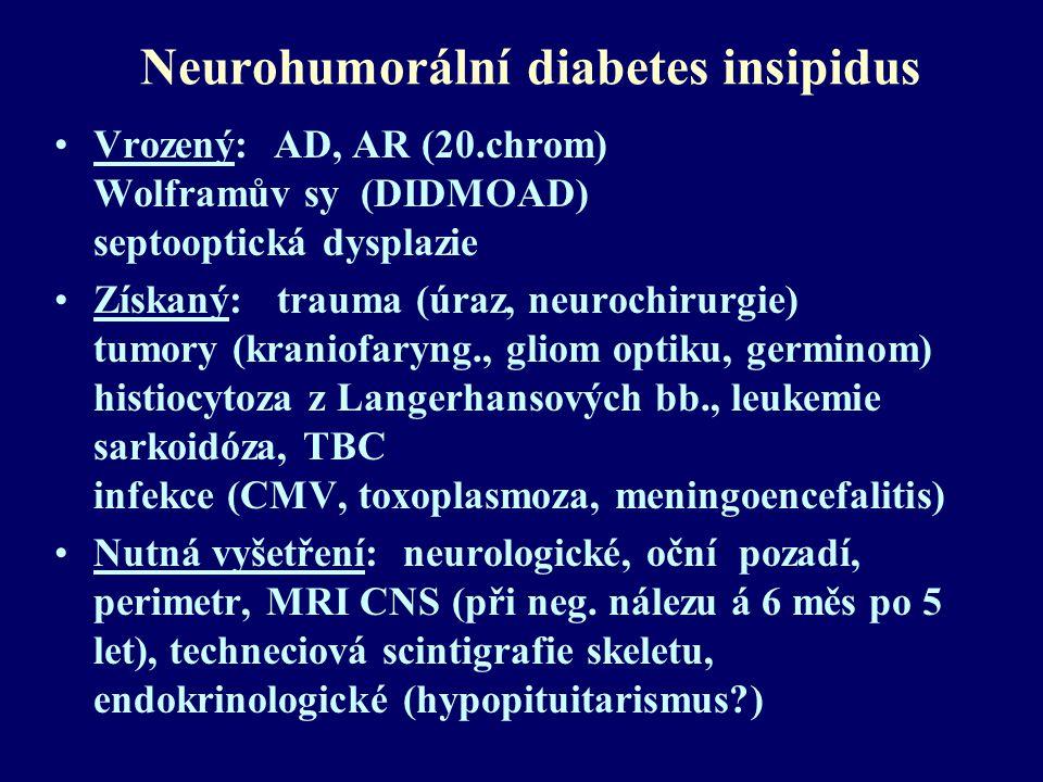 Neurohumorální diabetes insipidus Vrozený: AD, AR (20.chrom) Wolframův sy (DIDMOAD) septooptická dysplazie Získaný: trauma (úraz, neurochirurgie) tumo