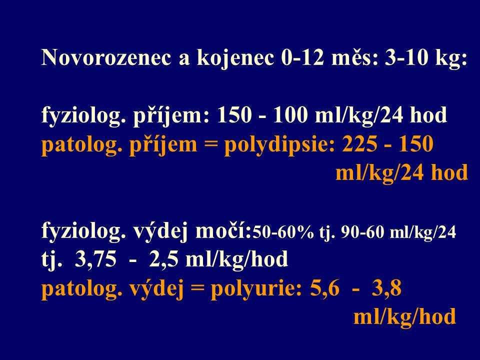 Novorozenec a kojenec 0-12 měs: 3-10 kg: fyziolog. příjem: 150 - 100 ml/kg/24 hod patolog. příjem = polydipsie: 225 - 150 ml/kg/24 hod fyziolog. výdej