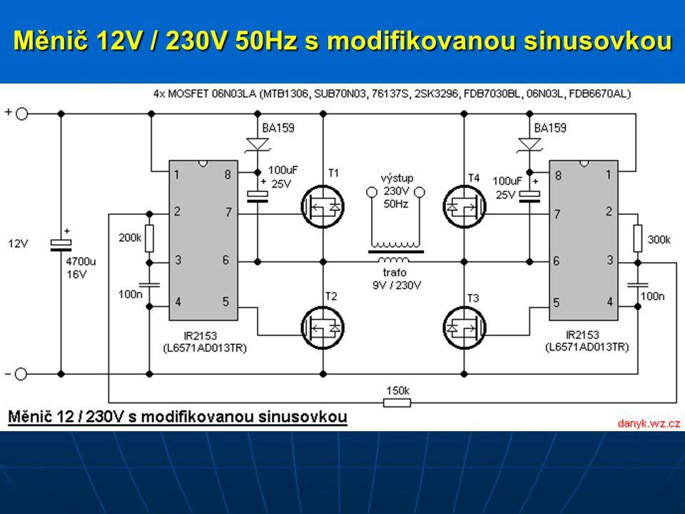 Měnič 12V / 230V 50Hz s modifikovanou sinusovkou