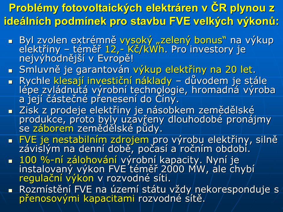 """Problémy fotovoltaických elektráren v ČR plynou z ideálních podmínek pro stavbu FVE velkých výkonů: Byl zvolen extrémně vysoký """"zelený bonus"""" na výkup"""