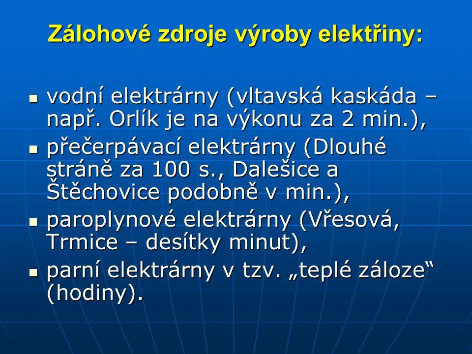 Zálohové zdroje výroby elektřiny: vodní elektrárny (vltavská kaskáda – např. Orlík je na výkonu za 2 min.), vodní elektrárny (vltavská kaskáda – např.