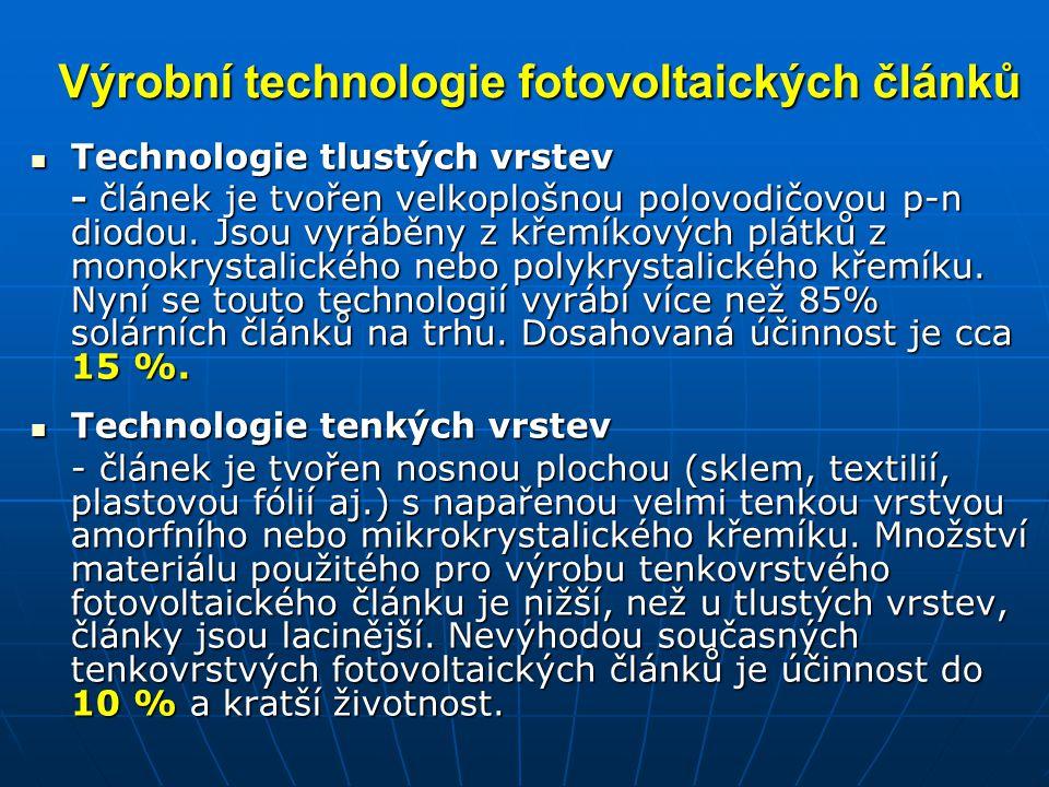 Výrobní technologie fotovoltaických článků Technologie tlustých vrstev Technologie tlustých vrstev - článek je tvořen velkoplošnou polovodičovou p-n d