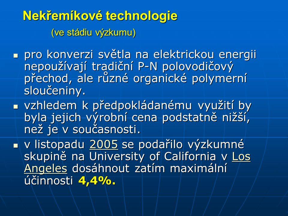 Účinnost fotoelektrických článků Zářivý výkon celého Slunce je 3,85·10 23 kW.
