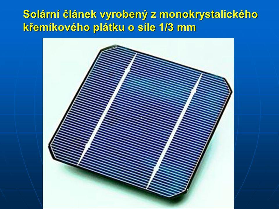 Koncentrátorové články Pro lepší využití drahých solárních článků, je možné použití odrazných ploch - zrcadel nebo čoček.