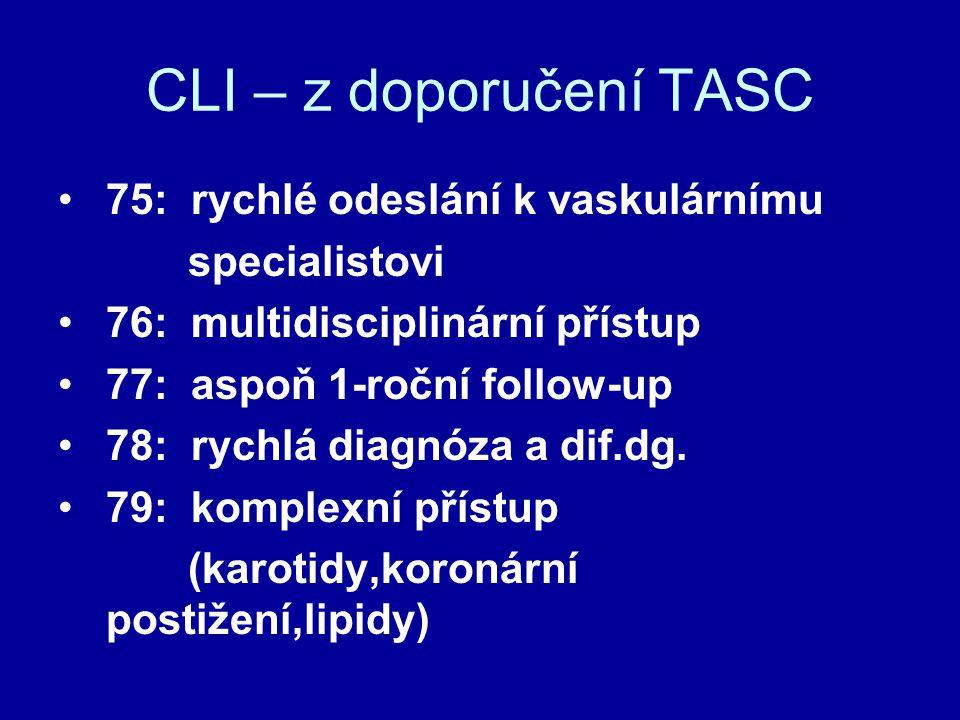 Revaskularizační léčba CLI TASC 87: Pokud dvě možnosti – použít tu s nižší morbiditou a mortalitou jako první, s přihlédnutím k ekonomickým nákladům (Šalamoun ?)