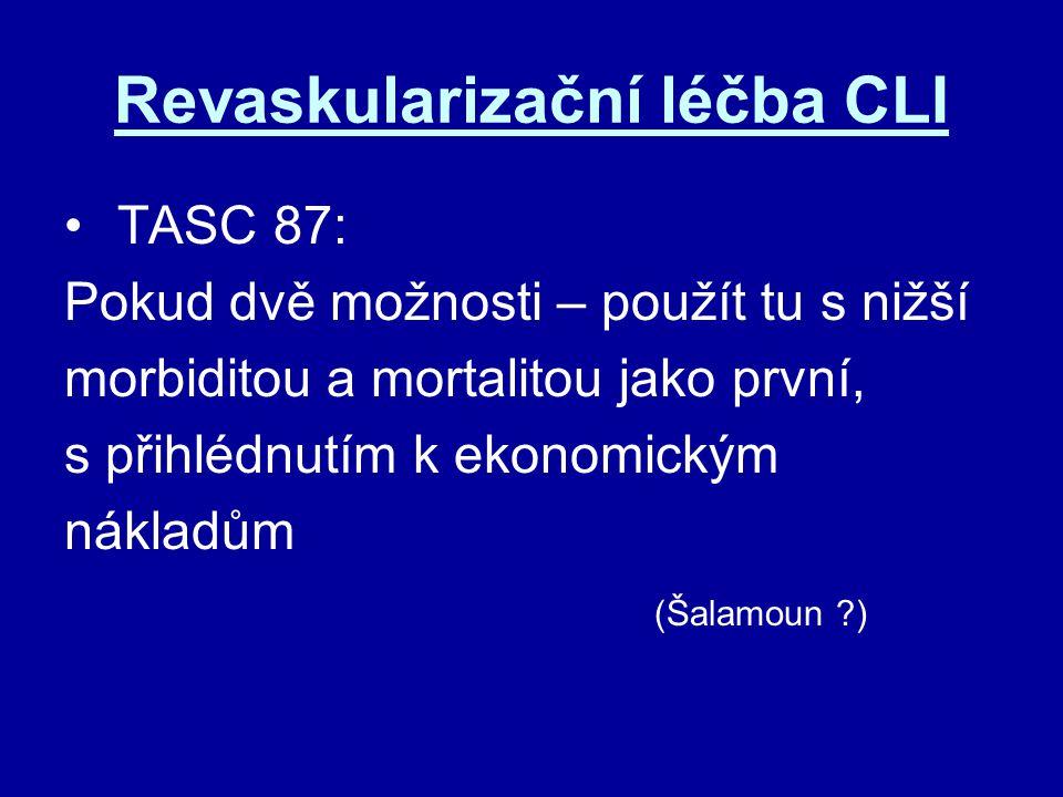 Revaskularizační léčba CLI TASC 87: Pokud dvě možnosti – použít tu s nižší morbiditou a mortalitou jako první, s přihlédnutím k ekonomickým nákladům (
