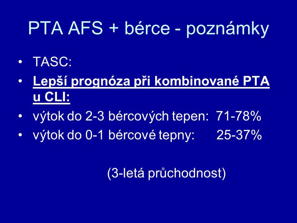 PTA AFS + bérce - poznámky TASC: Lepší prognóza při kombinované PTA u CLI: výtok do 2-3 bércových tepen: 71-78% výtok do 0-1 bércové tepny: 25-37% (3-