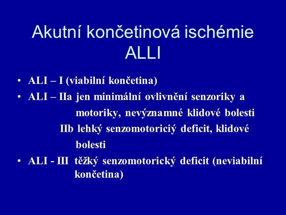 Akutní končetinová ischémie ALLI ALI – I (viabilní končetina) ALI – IIa jen minimální ovlivnění senzoriky a motoriky, nevýznamné klidové bolesti IIb l