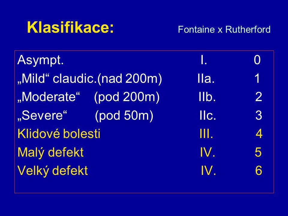 Klasifikace: ALI x CLI ALI (= akutní končetinová ischemie) Jakékoli náhlé zhoršení perfuze, které ohrožuje životaschopnost končetiny CLI (= kritická končetinová ischemie) Klidová ischemická bolest nebo defekt – způsobené arteriální obliterací (ohrožují pacienta amputací v průběhu 6-12 měs.) (pomocné kritérium: kotníkový tlak pod 50-70mmHg, prstový tlak či TCPO2 pod 30-50mmHg) TASC II