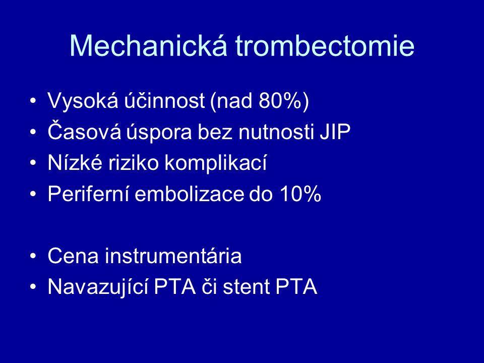 Mechanická trombectomie Vysoká účinnost (nad 80%) Časová úspora bez nutnosti JIP Nízké riziko komplikací Periferní embolizace do 10% Cena instrumentár