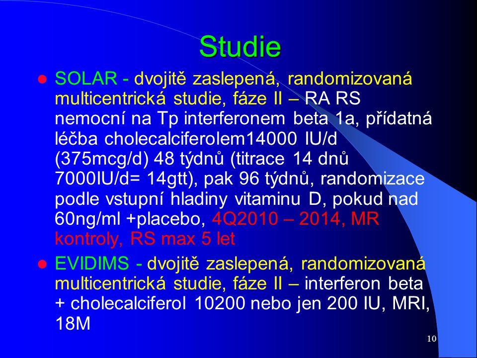 10 Studie SOLAR - dvojitě zaslepená, randomizovaná multicentrická studie, fáze II – RA RS nemocní na Tp interferonem beta 1a, přídatná léčba cholecalc