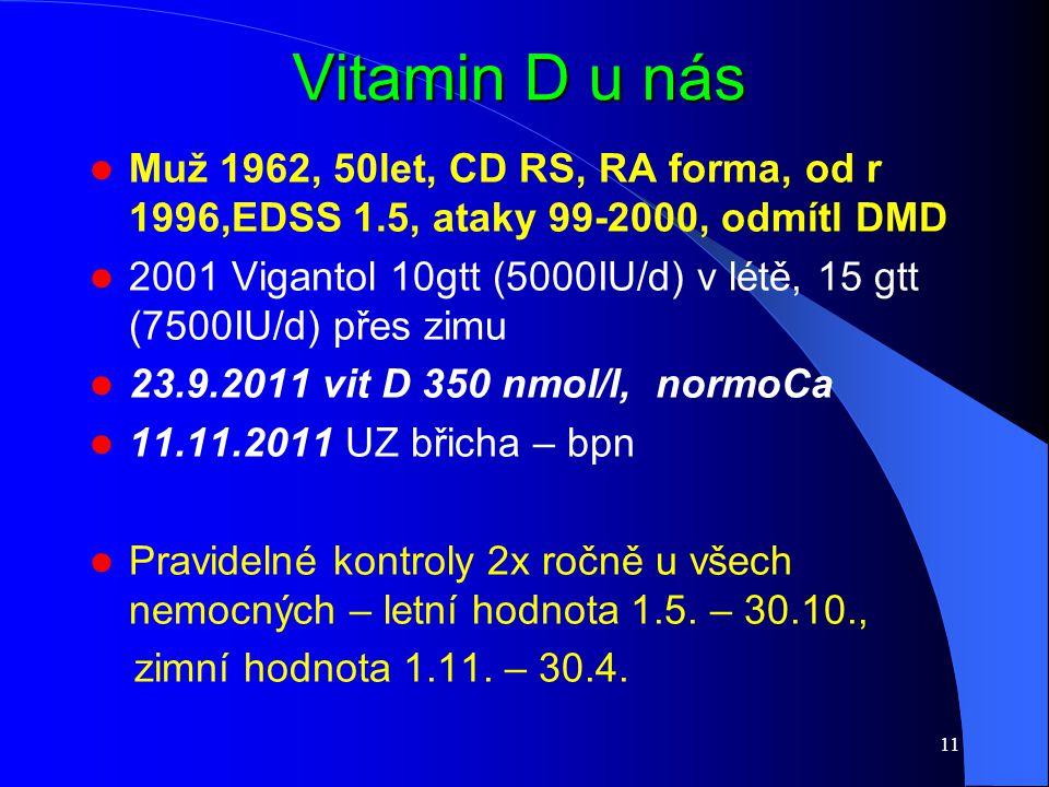 Vitamin D u nás Muž 1962, 50let, CD RS, RA forma, od r 1996,EDSS 1.5, ataky 99-2000, odmítl DMD 2001 Vigantol 10gtt (5000IU/d) v létě, 15 gtt (7500IU/