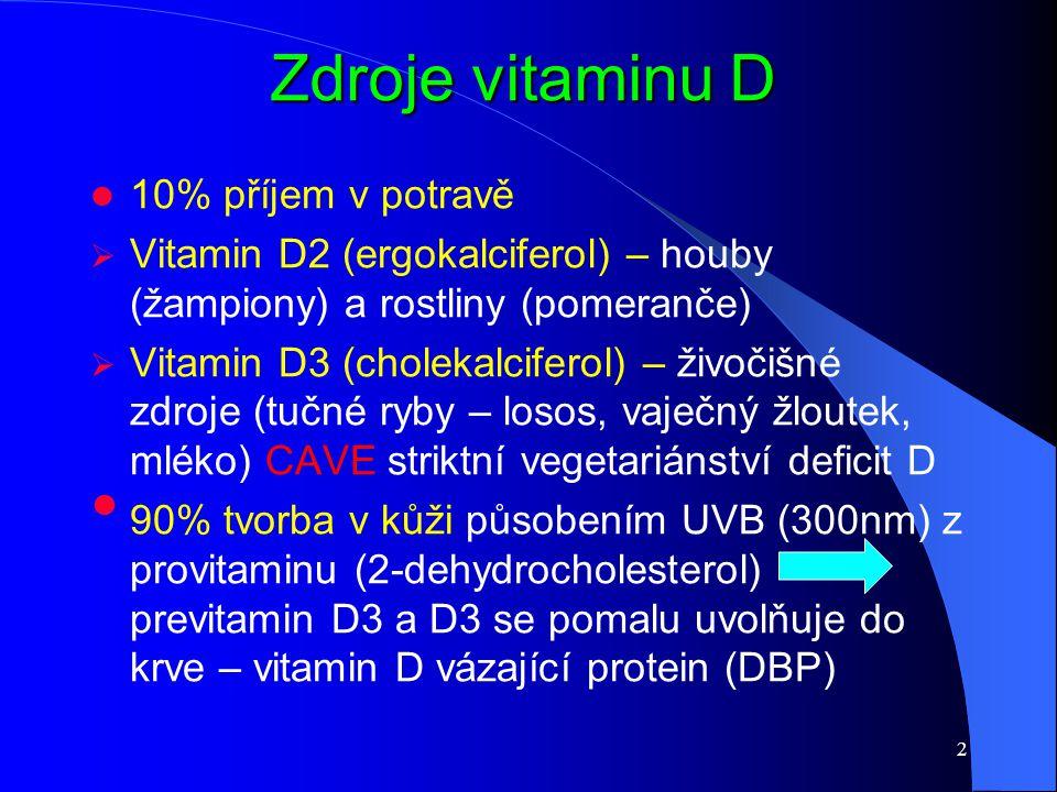 Zdroje vitaminu D 10% příjem v potravě  Vitamin D2 (ergokalciferol) – houby (žampiony) a rostliny (pomeranče)  Vitamin D3 (cholekalciferol) – živoči
