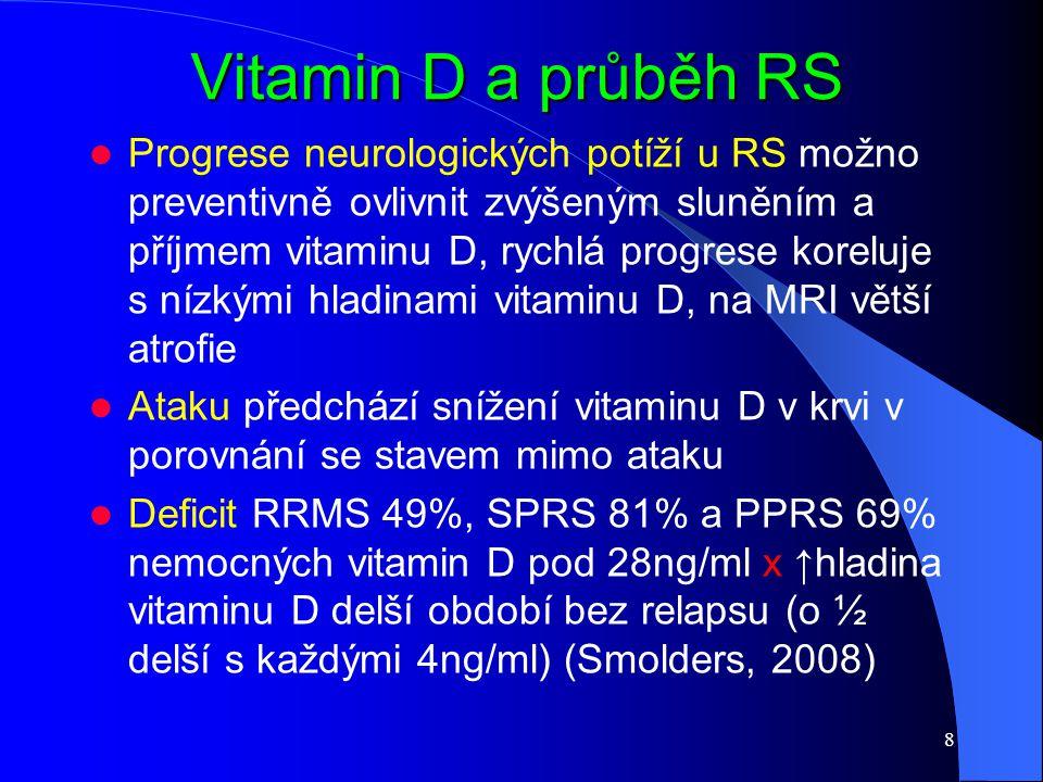 Vitamin D a průběh RS Progrese neurologických potíží u RS možno preventivně ovlivnit zvýšeným sluněním a příjmem vitaminu D, rychlá progrese koreluje