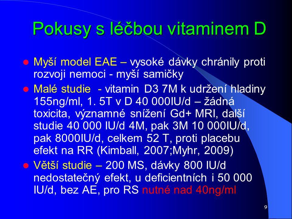 9 Pokusy s léčbou vitaminem D Pokusy s léčbou vitaminem D Myší model EAE – vysoké dávky chránily proti rozvoji nemoci - myší samičky Malé studie - vit