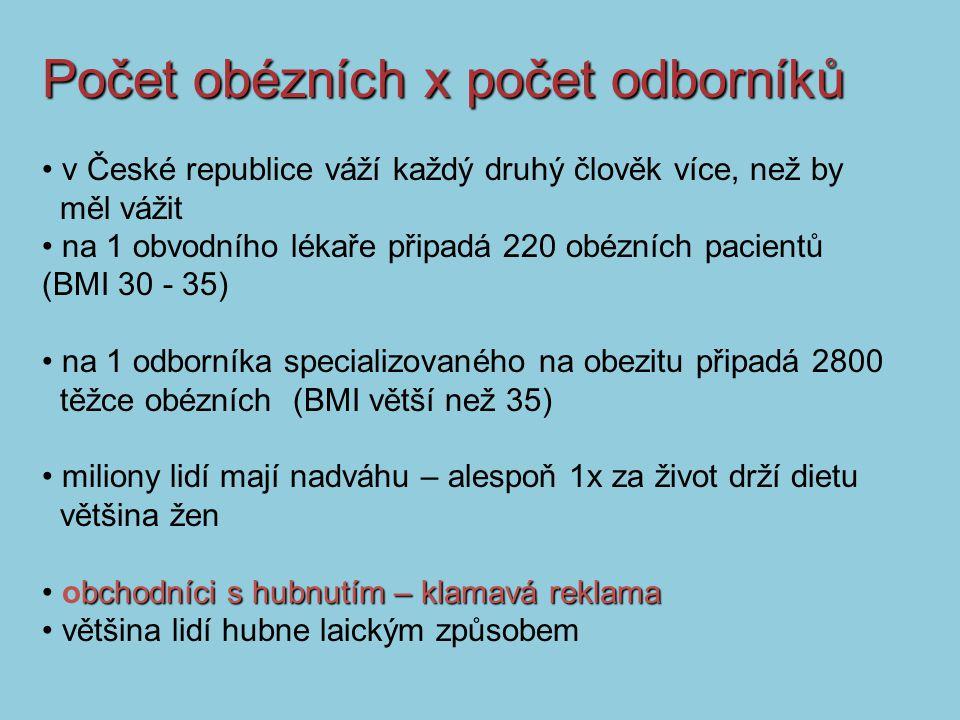 v České republice váží každý druhý člověk více, než by měl vážit na 1 obvodního lékaře připadá 220 obézních pacientů (BMI 30 - 35) na 1 odborníka specializovaného na obezitu připadá 2800 těžce obézních (BMI větší než 35) miliony lidí mají nadváhu – alespoň 1x za život drží dietu většina žen bchodníci s hubnutím – klamavá reklama obchodníci s hubnutím – klamavá reklama většina lidí hubne laickým způsobem Počet obézních x počet odborníků