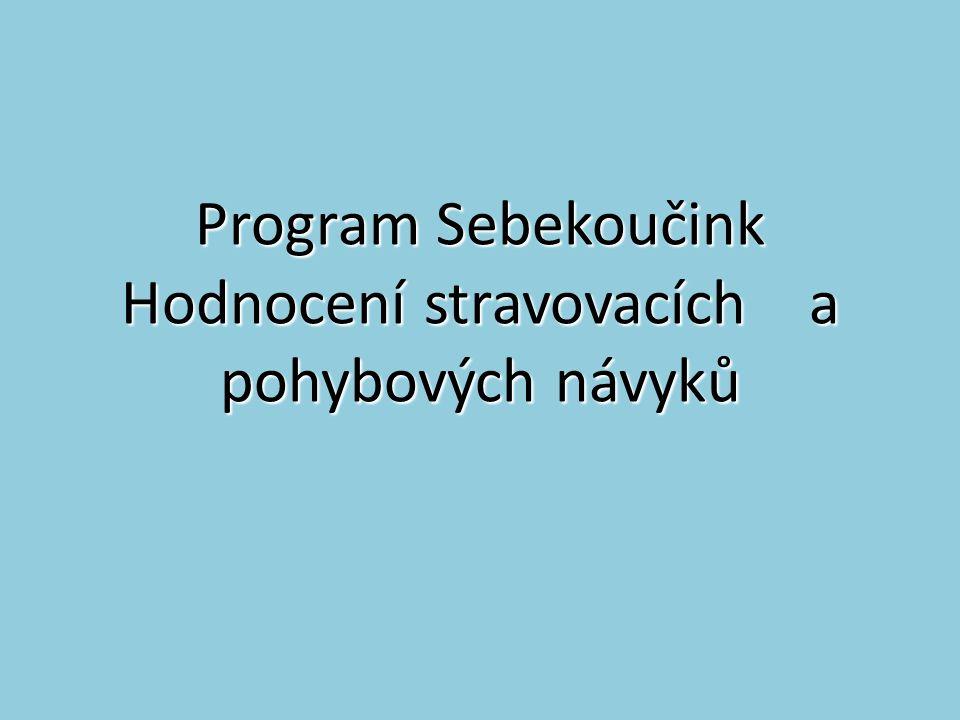 Program Sebekoučink Hodnocení stravovacích a pohybových návyků