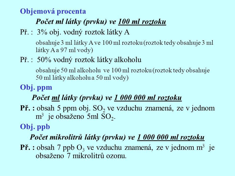 Objemová procenta Počet ml látky (prvku) ve 100 ml roztoku Př. : 3% obj. vodný roztok látky A obsahuje 3 ml látky A ve 100 ml roztoku (roztok tedy obs