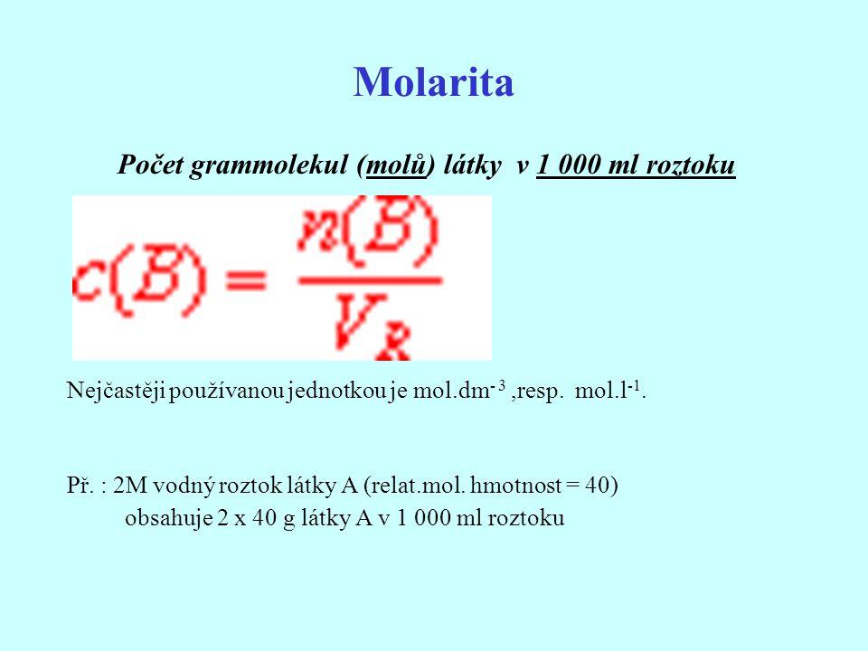 Počet grammolekul (molů) látky v 1 000 ml roztoku Nejčastěji používanou jednotkou je mol.dm - 3,resp. mol.l -1. Př. : 2M vodný roztok látky A (relat.m