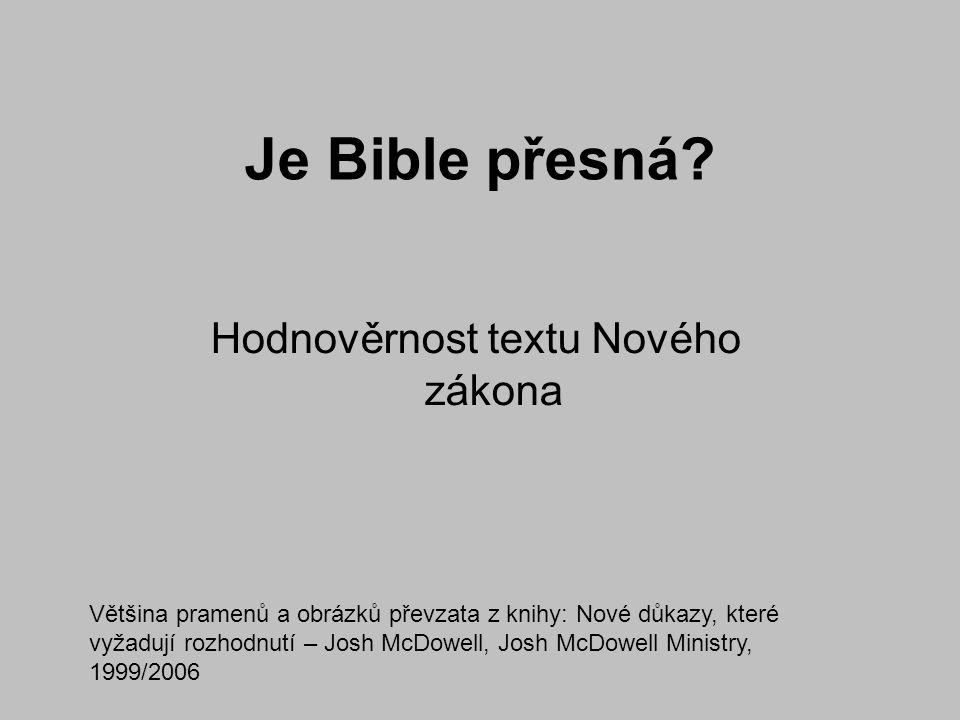 2) Doba mezi originálem a zachovanými rukopisy oproti tomu nejstarší zachované fragmenty knih Nového zákona pochází z roku 130 n.l., tedy cca 50 let po smrti autorů, nejstarší celé knihy okolo roku 200-250 n.l.