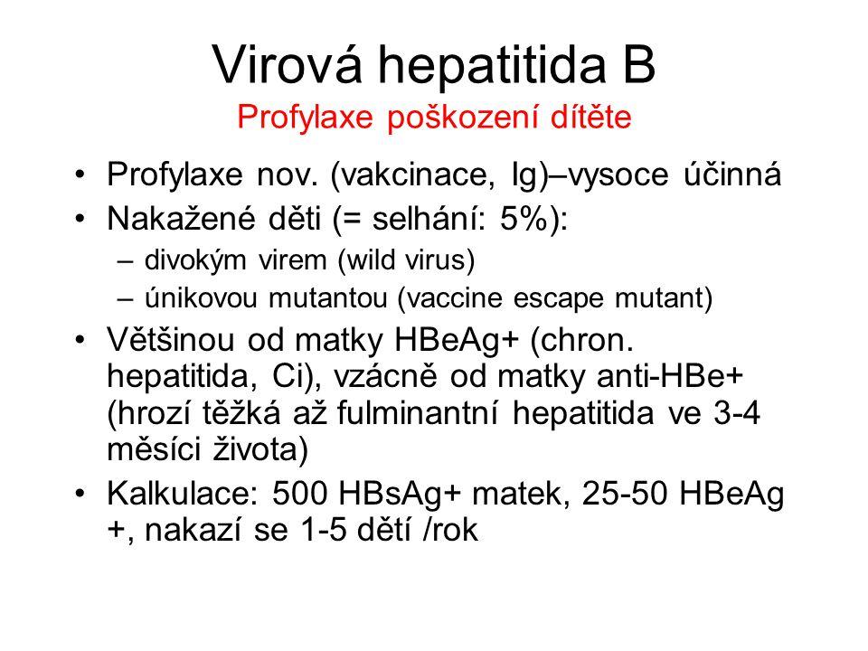 Virová hepatitida B Profylaxe poškození dítěte Profylaxe nov. (vakcinace, Ig)–vysoce účinná Nakažené děti (= selhání: 5%): –divokým virem (wild virus)