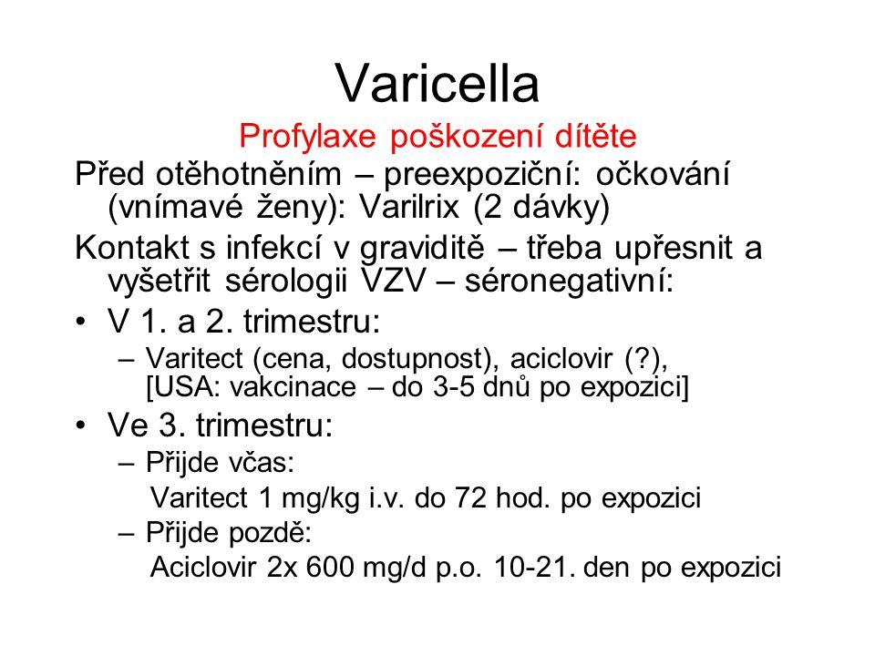 Varicella Profylaxe poškození dítěte Před otěhotněním – preexpoziční: očkování (vnímavé ženy): Varilrix (2 dávky) Kontakt s infekcí v graviditě – třeb
